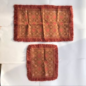 2 Fringed Table Runners Rust Salmon Silky Jacquard